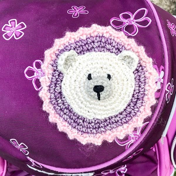 Schulranzenklettpatch Eisbär
