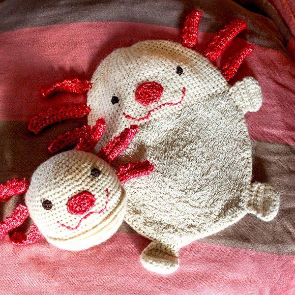 Axolotl Spielball und Schnuffeltuch Häkelanleitungen Set